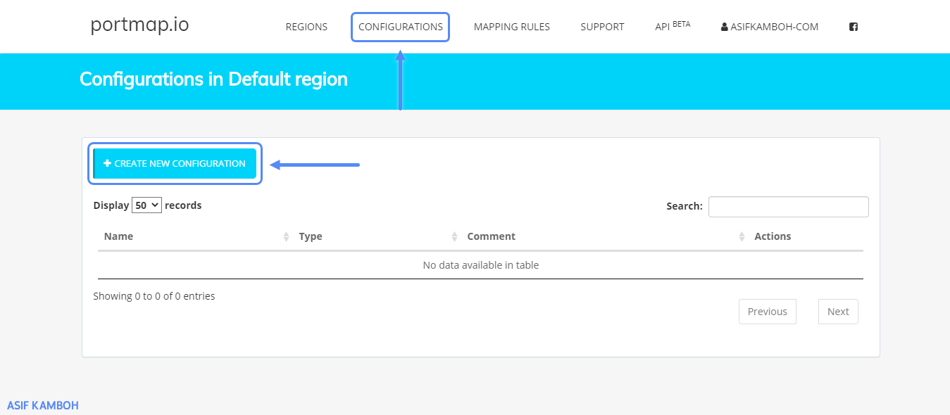 Click the Configurations menu, and click on the new configuration file.