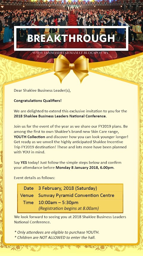 Jemputan ke Shaklee Business Leader National Conference 2018