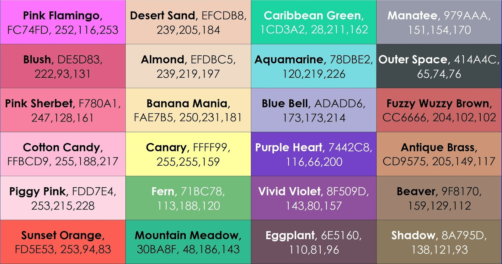 Complete List Of Current Crayola Crayon Colors
