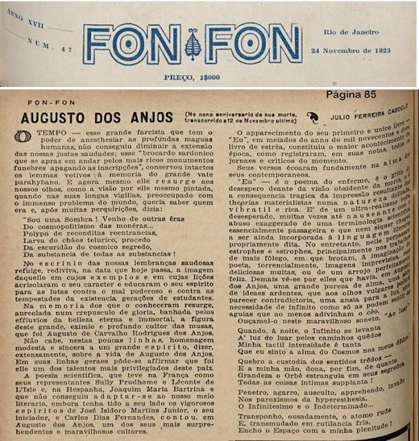 CABOCLO, Julio Ferreira. Augusto dos Anjos: no nono aniversário de sua morte. Revista Fon-Fon, Rio de Janeiro, 24 nov 1923 ed. 47, p.85-87.