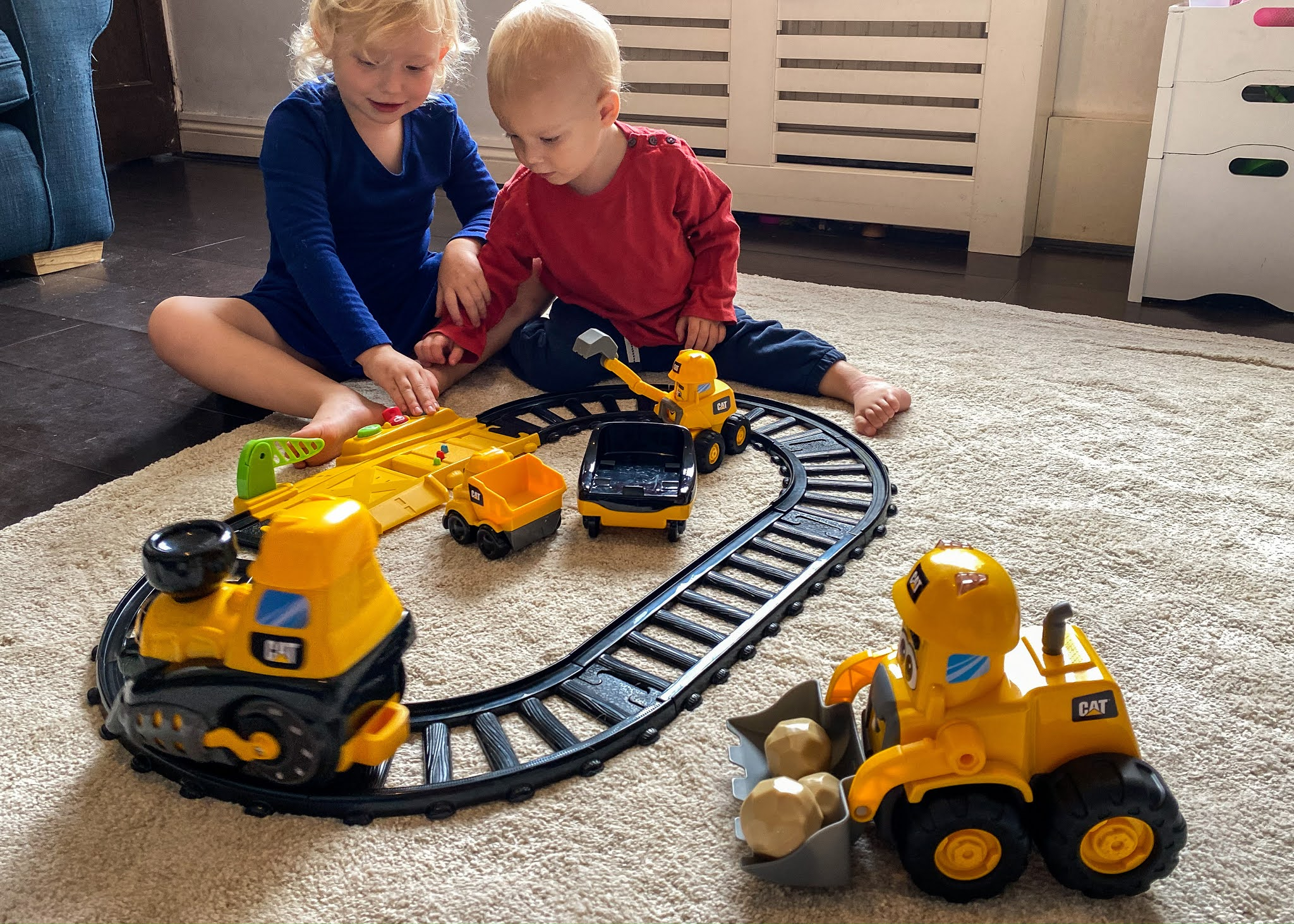We received some CAT® Junior Crew™preschool construction toys to review including the train set, a digger and a wheel loader