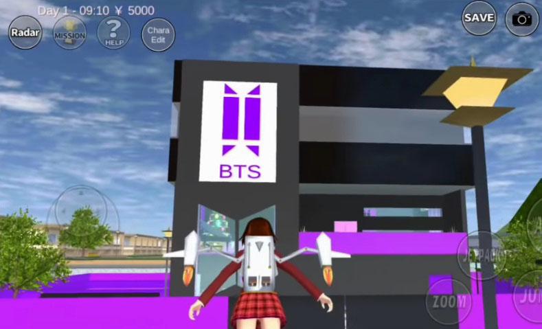 id rumah bts sakura school simulator