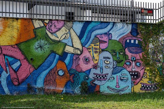 Grafite em um muro na Rua Euclides Bandeira - detalhe