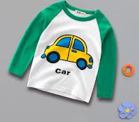 baju kaos anak laki tangan panjang tema mobil