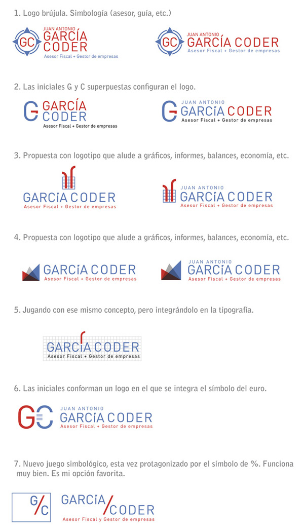 Siete propuestas de logotipo para un asesor fiscal. Diseño gráfico - Seven proposal of logo for an economy adviser. Graphic design.