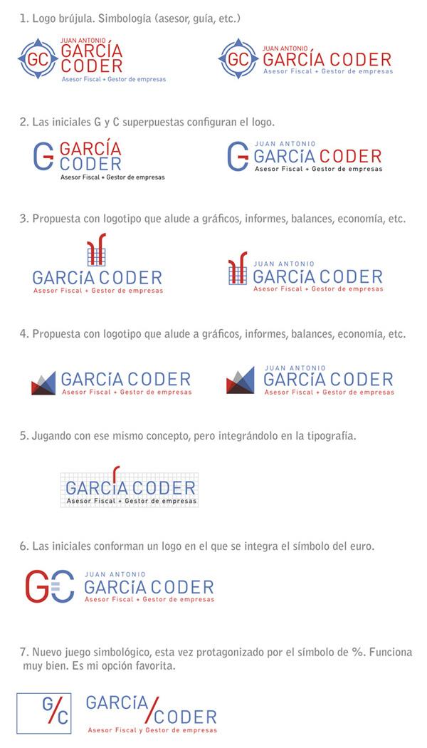 Siete propuestas de logotipo para un asesor fiscal. Diseño gráfico - Seven proposal of logo for an economy adviser. Graphic design.