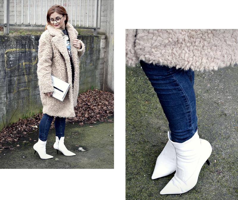 Look mit weißen Stiefen und Teddyfellmantel, Modeblog für Frauen über 40