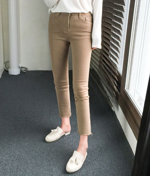 Cropped Hem Skinny Pants