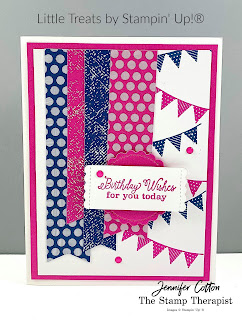 This Birthday card uses Stampin' Up!®'s Little Treats Bundle.  We also used the 2020-22 In Color Desgner Paper, Banners Pick a Punch, In Color Enamel Dots, and Misty Moonlight & Magenta Madness ink.   Check out the blog for a video & supply list.  #StampTherapist #StampinUp
