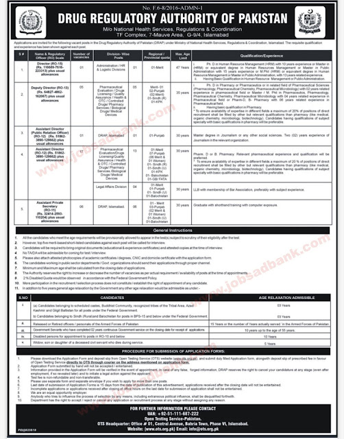Drug Regulatory Authority of Pakistan Jobs 2019 OTS Application Form Download Latest June/July 2019