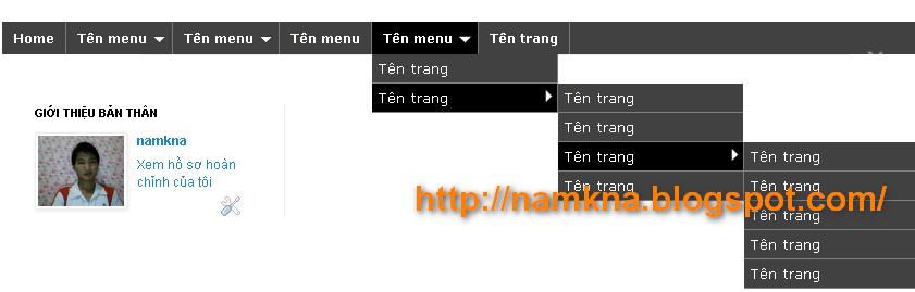 Menu ngang xổ dọc xuống nhiều cấp (kiểu 1) - Update 15/03/2012