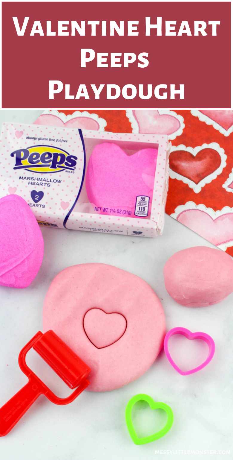 Valentine sensory play. Easy edible peeps playdough recipe.