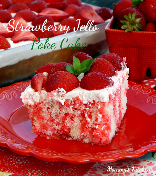 Strawberry Jello Poke Cake with Cream Cheese Frosting