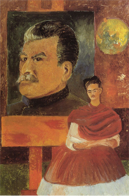 Фрида Кало - Автопортрет со Сталиным. 1954