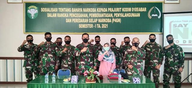 Sosialisasi P4GN, Dandim Aceh Barat Melalui Pasi Log : Narkoba Adalah Monster Yang Mematikan
