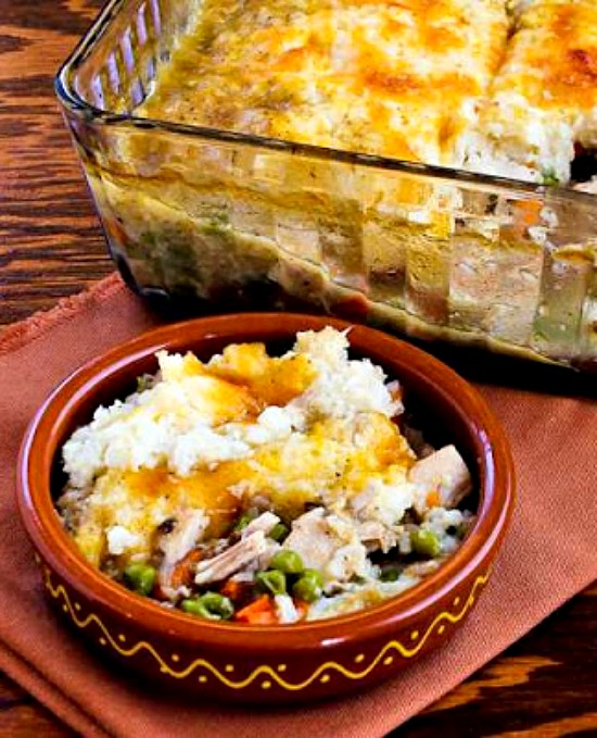Leftover Turkey (or chicken) Shepherd's Pie with Garlic-Parmesan Cauliflower Topping from Kalyn's Kitchen