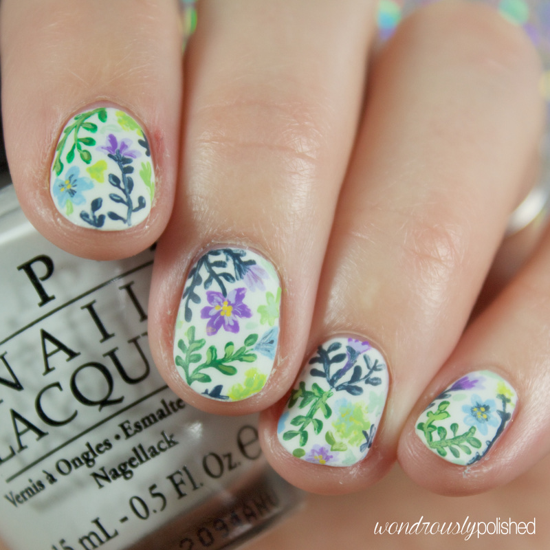 Wondrously Polished: Garden Party - Floral Nail Art