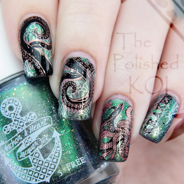 Anchor and Heart Lacquer You Are My Home Kraken nail art