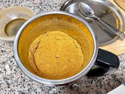 Sambar Powder processed in a mixie grinder