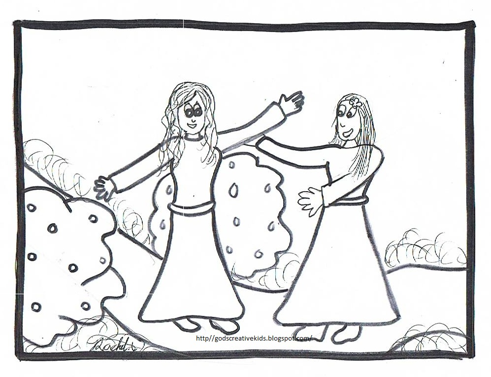 the visitation coloring page - joyful mysteries rosary coloring page coloring pages