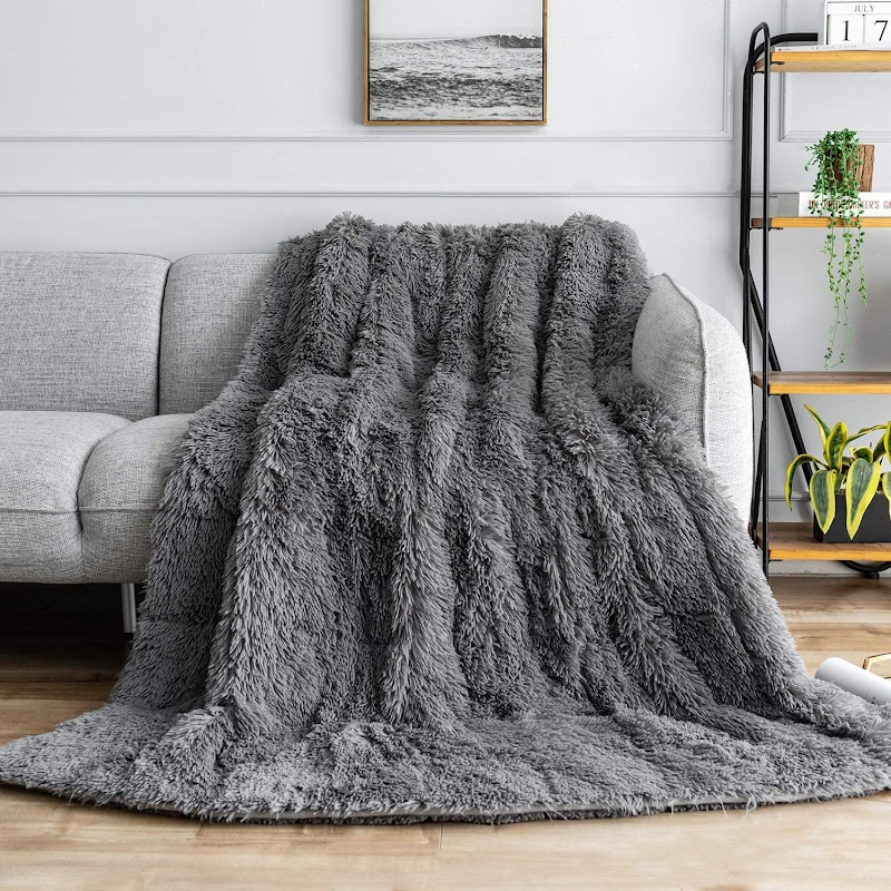 30% OFF Shaggy Faux Fur Weighted Blanket 20lbs, Super Soft Plush Fleece and Sherpa Blanket for Adults
