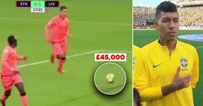 Reason why Firmino lost £45,000 during Liverpool vs  Stoke City match