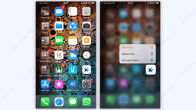 cara uninstall aplikasi di iphone