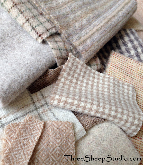 Light Colored Neutral Wool Fabric - ThreeSheepStudio.com
