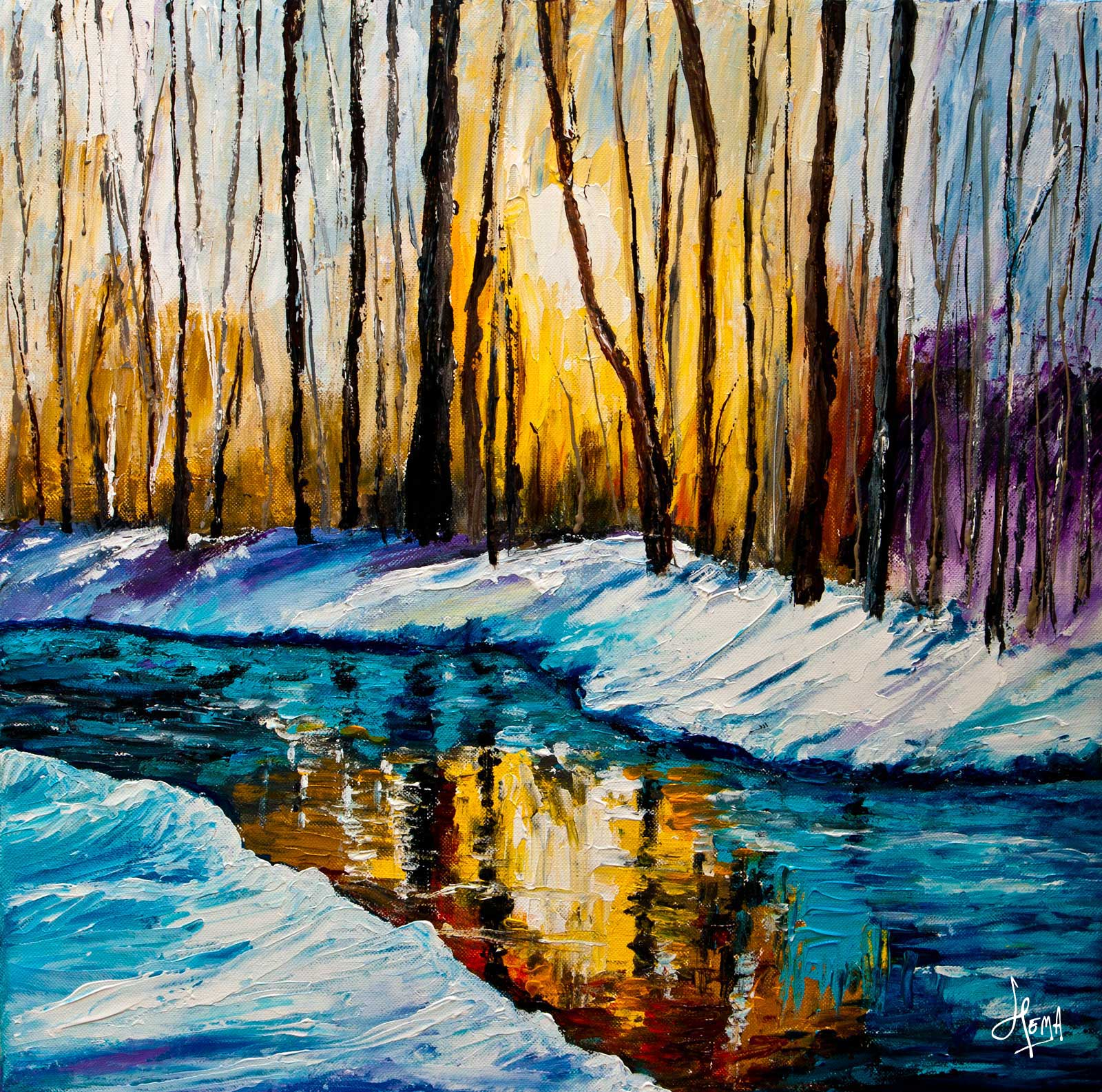 From My Canvas: Winter Light - Acrylic Painting