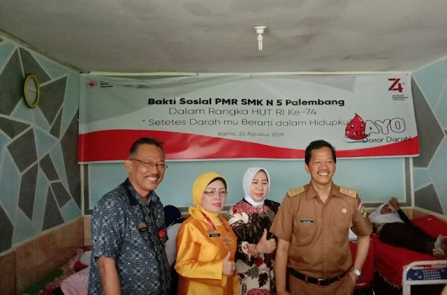 SMK Negeri 5 Palembang Gelar Kegiatan Donor Darah