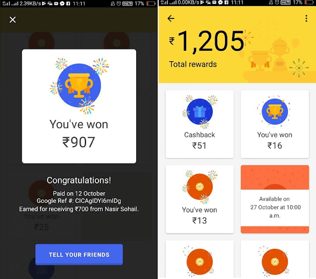 Google Tez Rewards for sending and receiving money