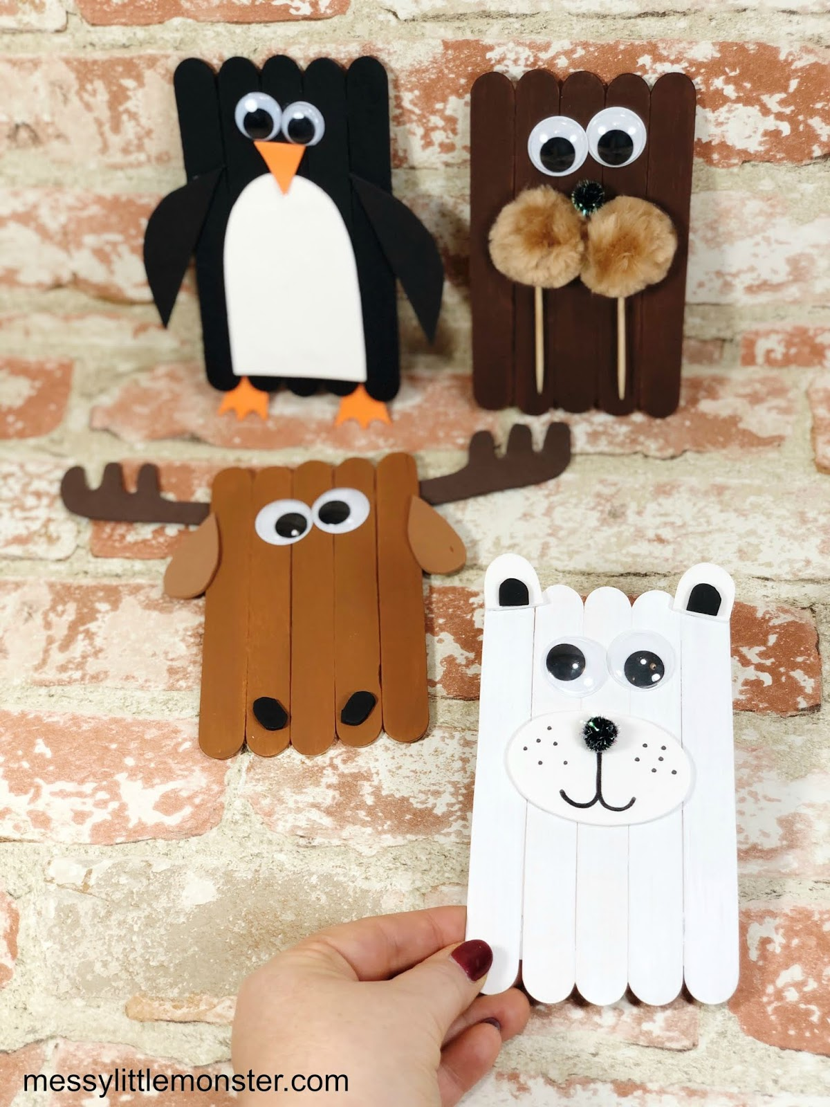 popsicle stick winter animal craft for kids
