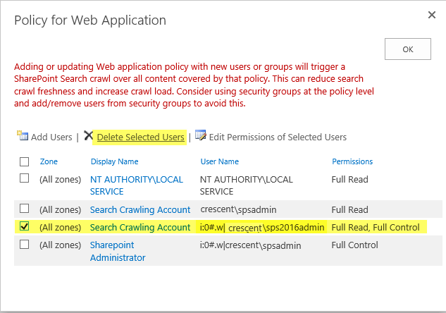 remove web application policy using powershell