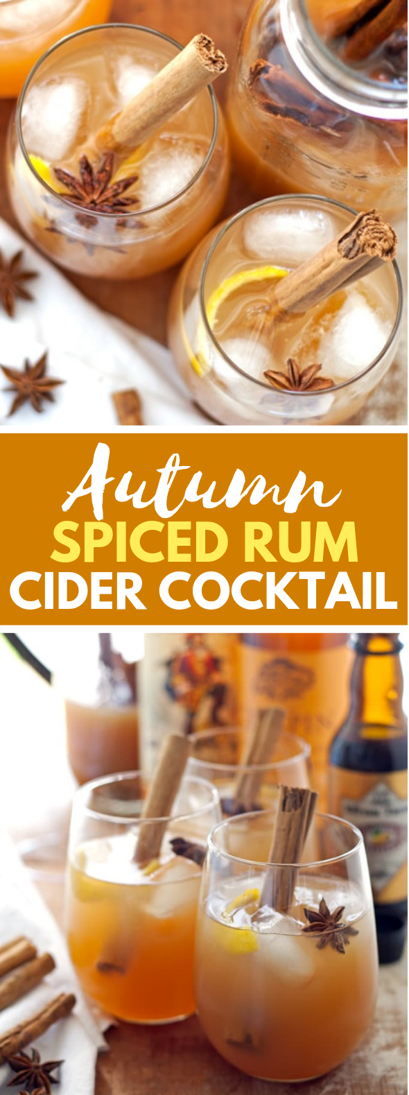 AUTUMN SPICED RUM CIDER COCKTAIL #drinks #fallcocktail