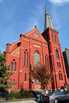 Red brick gothic revival style Lutheran Church