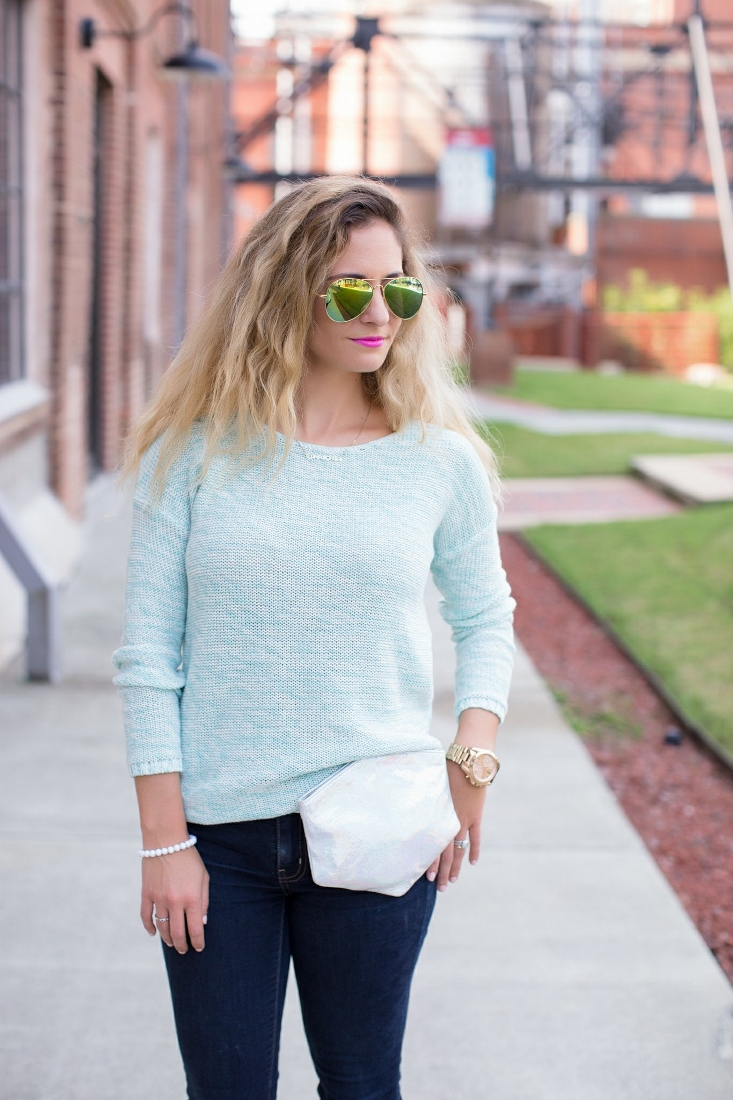 Ombre Blonde Hair color with Mirror Aviators