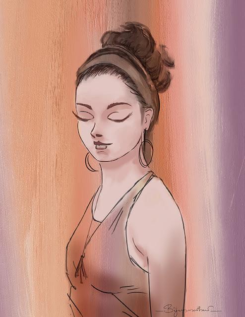Julia - Digital Painting by Biju P, Indian Artist from Kerala