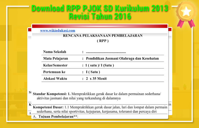 Download RPP PJOK SD Kurikulum 2013 Revisi 2016
