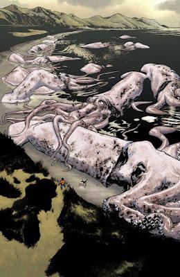 pleine page avec des mollusques géants échouent sur la plage