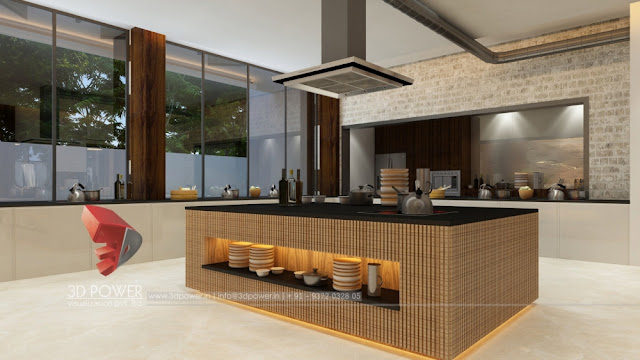 Classy 3d Interior Rendering of ramada Hotel's Kitchen