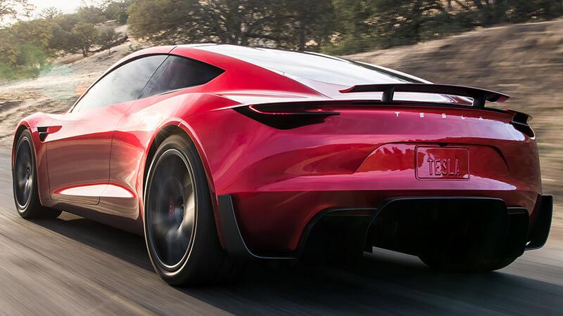 Tesla Roadster parte atrás