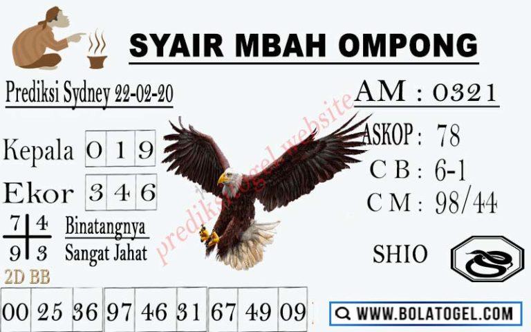 Prediksi Togel JP Sidney 22 Februari 2020 - Syair Mbah Ompong