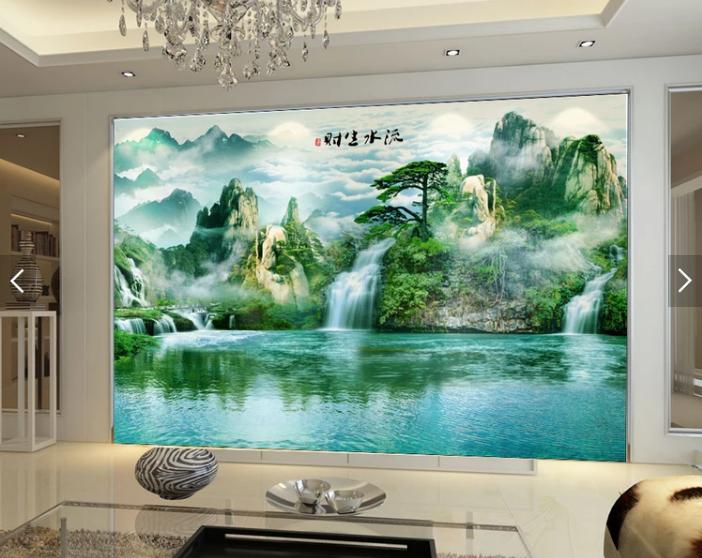 Tranh dán tường 3d thác nước phòng khách đẹp