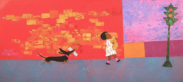 an Ezra Jack Keats 1960s children's book, a little boy and his dog carry things home, a diversified children's book in the 1960s