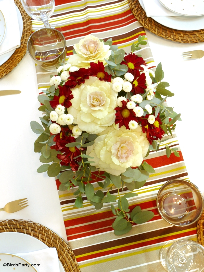 Easy DIY Floral Centerpiece - Perfect for a Fall or Thanksgiving table - BirdsParty.com