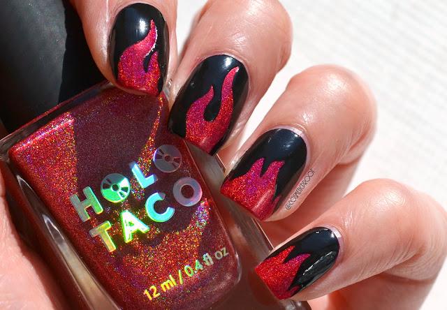 Holo Taco Flame Nail Art