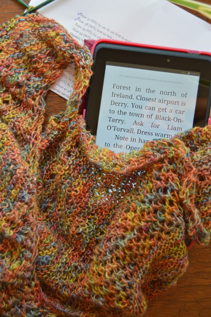 knitting scarves and shawls and Yarn Along reading My Familiar Stranger