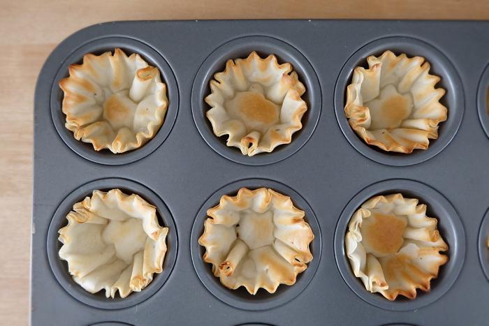 mini phyllo shells in mini muffin tin