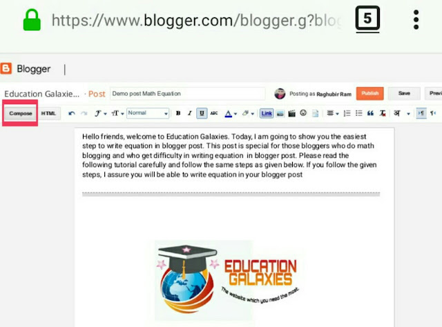 how to add math equation in blogger post