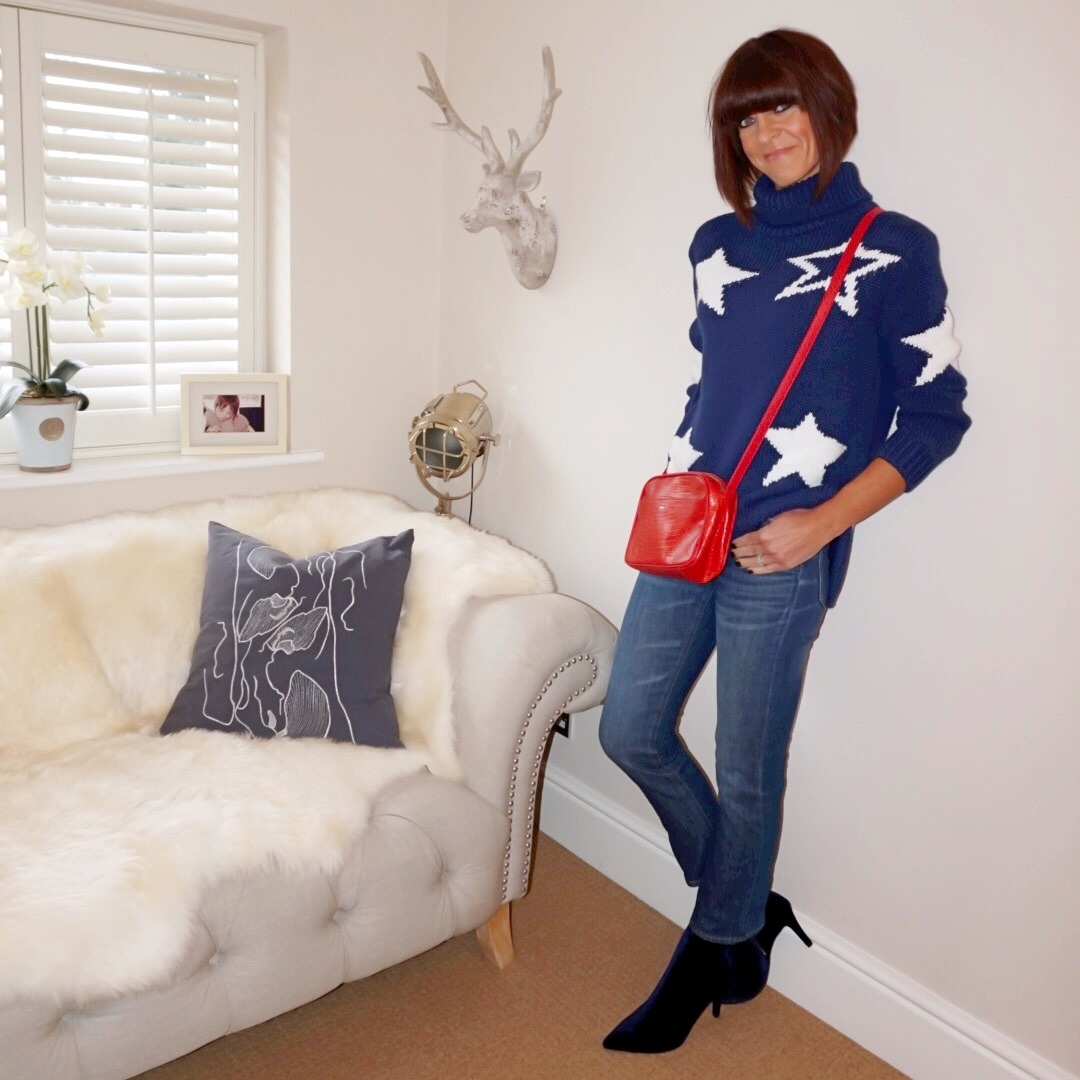 my midlife fashion, marks and spencer chunky knit star polo neck jumper, uterque mock croc crossbody bag, j crew sammie cropped kick flare jeans, marks and spencer stiletto heel side zip ankle boots
